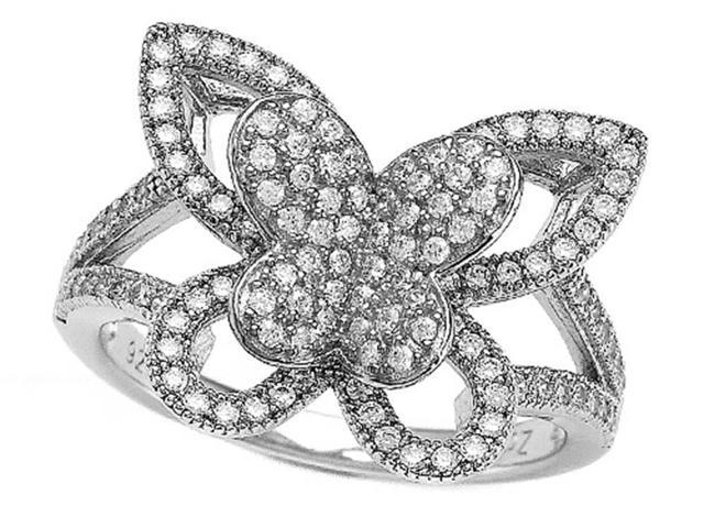 Zoe R Sterling Silver Micro Pave Hand Set Cubic Zirconia CZ Butterfly Ring Size 8
