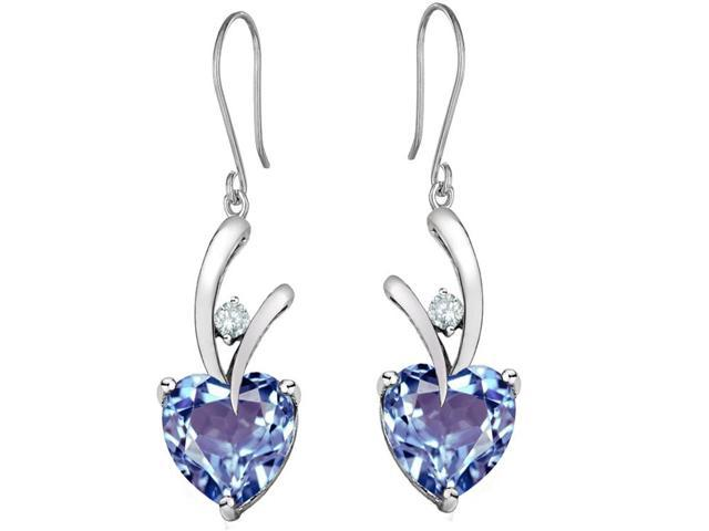Star K 8mm Heart Shape Simulated Aquamarine Hanging Hook Love Earrings in Sterling Silver