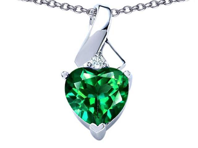 Star K 8mm Heart Shape Simulated Emerald Ribbon Pendant Necklace in Sterling Silver