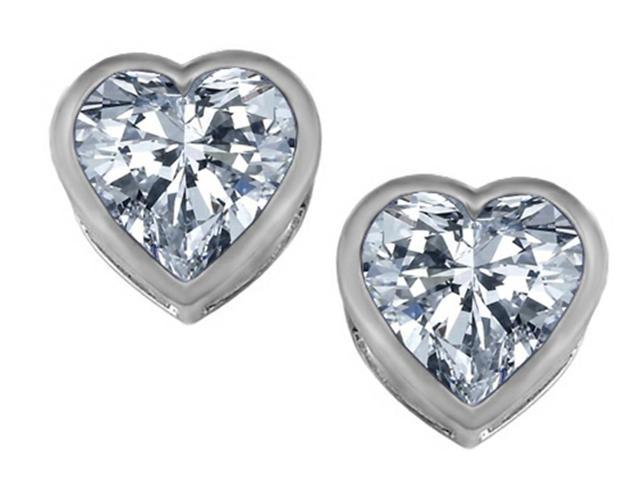 Star K 7mm Heart Shape Genuine White Topaz Heart Earrings Studs in Sterling Silver