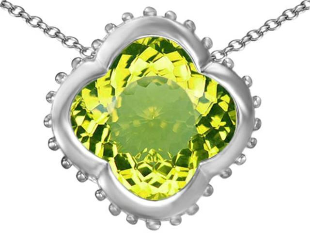 Star K Large Clover Pendant Necklace with 12mm Clover Cut Simulated Peridot in Sterling Silver