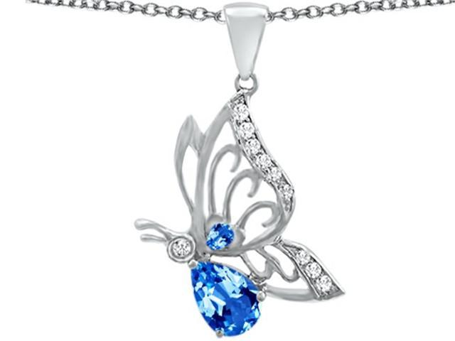 Star K Butterfly Pendant Necklace with 9x6mm Pear Shape Simulated Blue Topaz in Sterling Silver