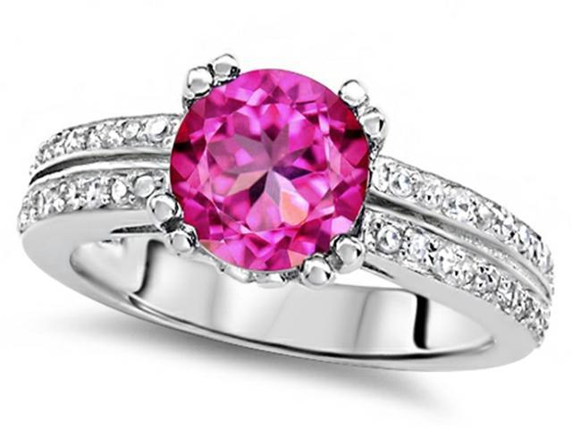 Star K Round 7mm Created Pink Sapphire Wedding Ring in Sterling Silver Size 5