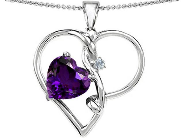 Star K Large 10mm Heart Shaped Simulated Amethyst Knotted Heart Pendant Necklace in Sterling Silver