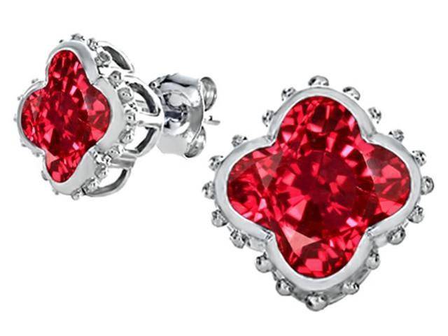 Star K Clover Earrings Studs with 8mm Clover Cut Created Ruby in Sterling Silver