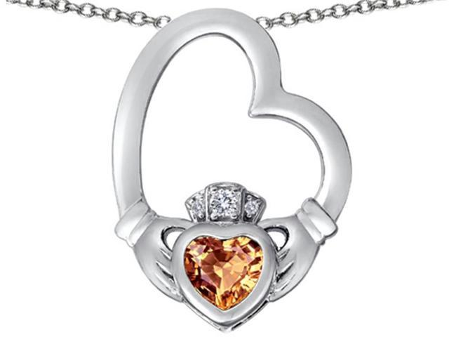 Star K Floating Heart Irish Claddagh Pendant Necklace with Heart Shape Simulated Imperial Yellow Topaz Sterling Silver