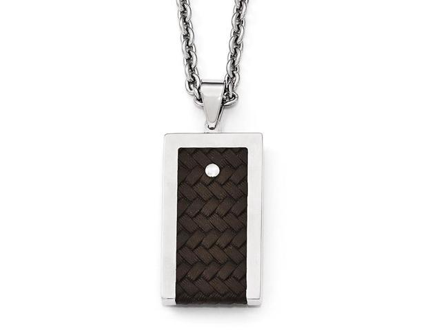 Chisel Stainless Steel Reversible Brushed and Polished with Brown Leather Necklace