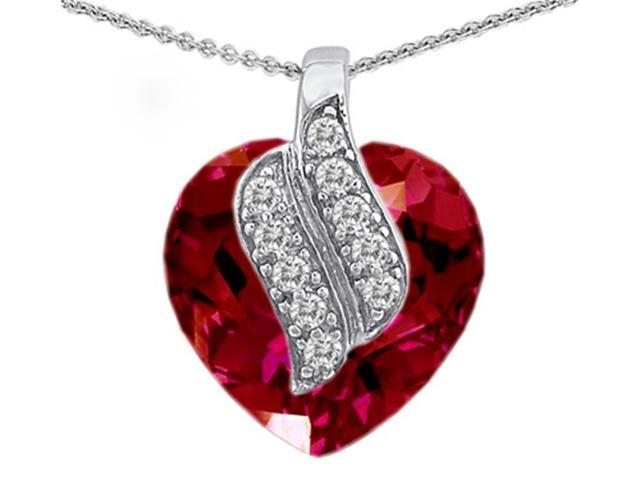 Star K Large 15mm Heart Shape Created Ruby Soul Mate Pendant Necklace in Sterling Silver