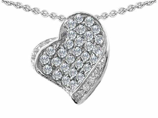 Star K Heart Shape Love Pendant Necklace with Round Cubic Zirconia in Sterling Silver