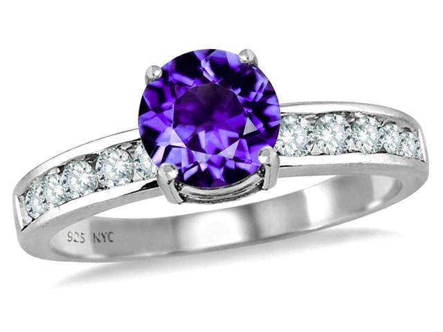 Star K Round 7mm Simulated Amethyst Ring in Sterling Silver Size 8