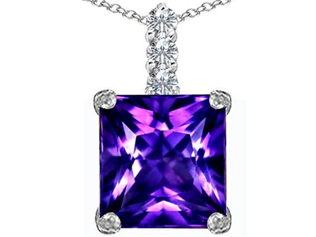 Star K Large 12mm Square Cut Simulated Amethyst Pendant Necklace in Sterling Silver