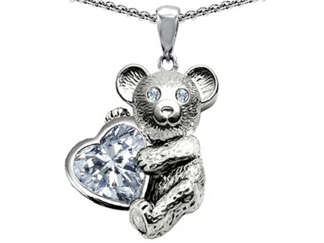 Star K Love Bear Hugging Birthstone of April 8mm Heart Shape Genuine White Topaz in Sterling Silver
