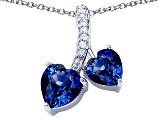Star K 8mm and 7mm Heart Shape Created Sapphire Double Hearts Pendant Necklace in Sterling Silver