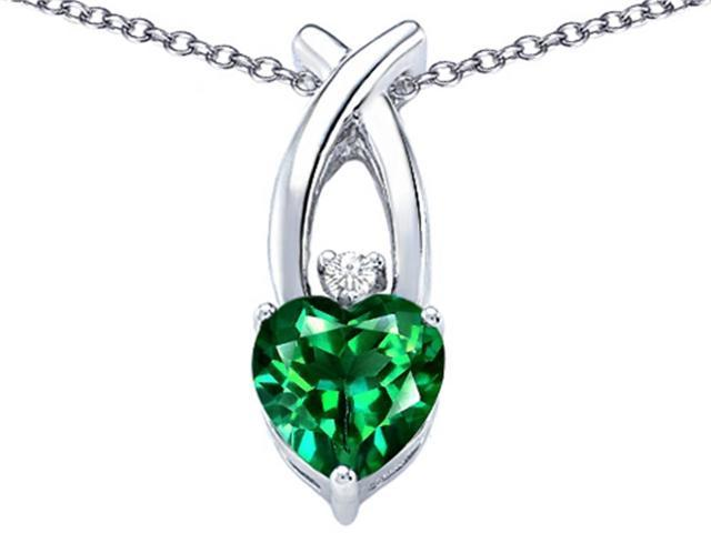 Star K 8mm Heart Shape Simulated Emerald Cross Heart Pendant Necklace in Sterling Silver