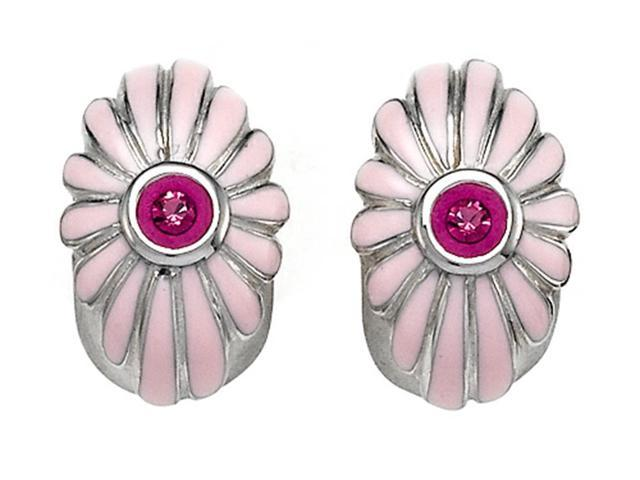 Pink Enamel Sterling Silver Earrings with Pink CZs