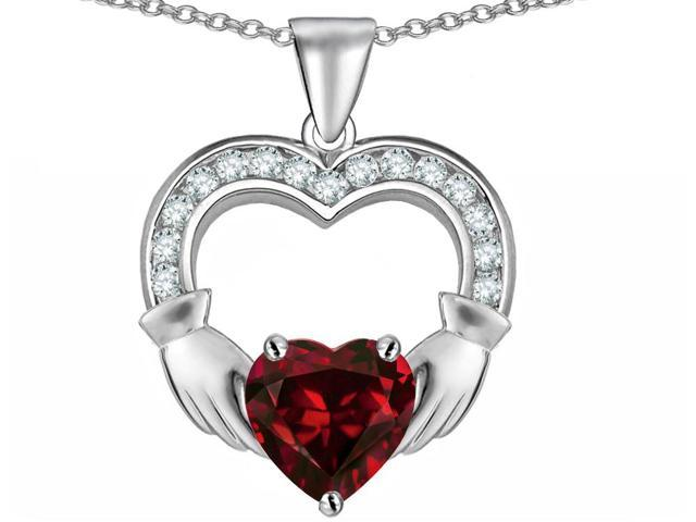 Star K Hands Holding 8mm Heart Claddagh Pendant Necklace with Simulated Garnet in Sterling Silver