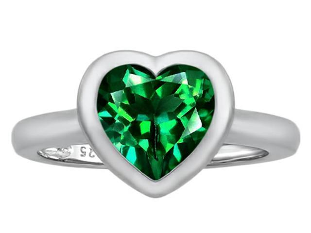 Star K 8mm Heart Shape Solitaire Ring with Simulated Emerald in Sterling Silver Size 7