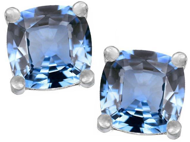 Star K Cushion Cut 7mm Simulated Aquamarine Earrings Studs in Sterling Silver