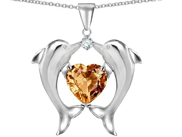Star K Kissing Love Dolphins Pendant Necklace with Heart Shape 8mm Simulated Imperial Yellow Topaz in Sterling Silver
