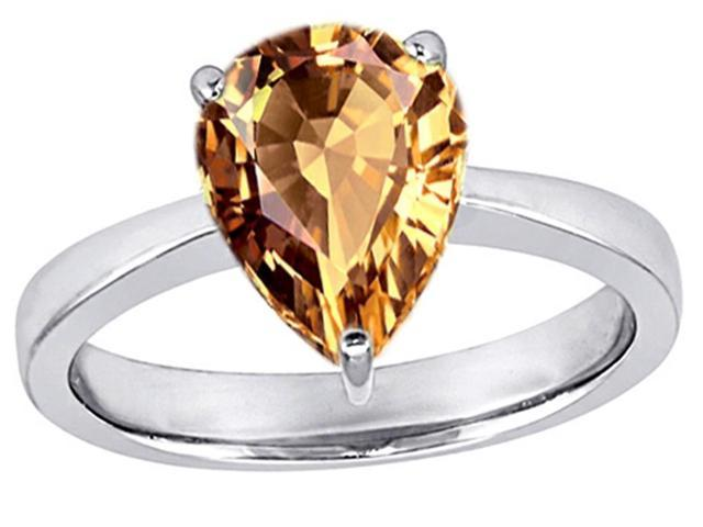 Star K Large 11x8 Pear Shape Solitaire Ring with Simulated Imperial Yellow Topa in Sterling Silver Size 5