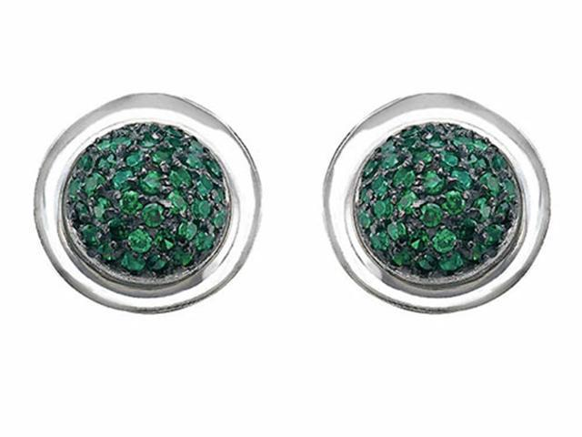 Star K Round Puffed Earrings with Simulated Emerald in Sterling Silver