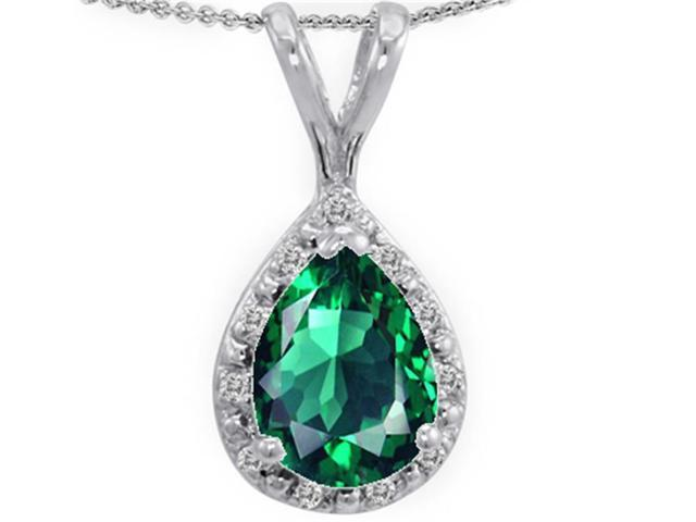 Tommaso Design Pear Shape Simulated Emerald Pendant Necklace in 14 kt White Gold