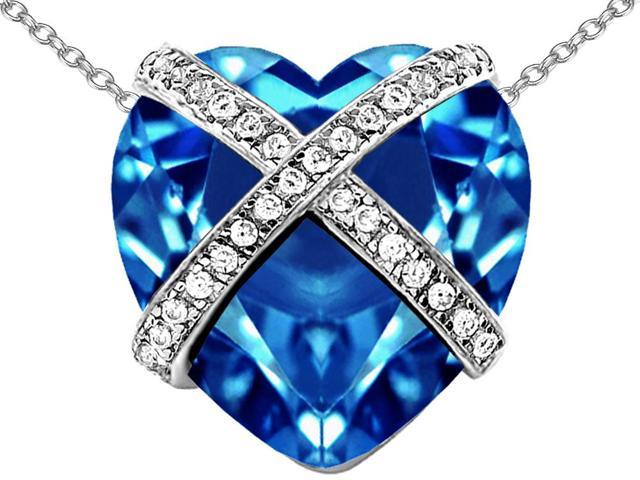 Star K Large Prisoner of Love Heart Pendant Necklace with 15mm Heart Shape Simulated Blue Topaz in Sterling Silver
