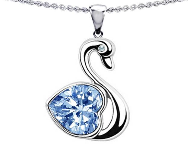Star K Love Swan Pendant Necklace with 8mm Heart Shape Simulated Aquamarine in Sterling Silver
