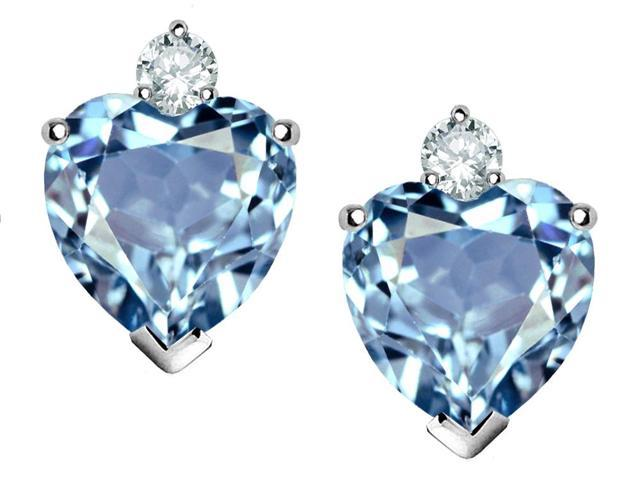 Star K Heart Shape 7mm Simulated Aquamarine Earrings in Sterling Silver