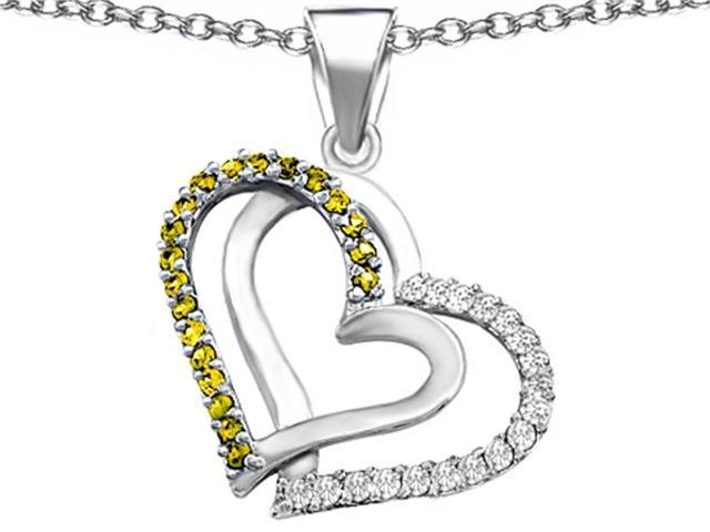 Star K Round Simulated Citrine Double Hearts Pendant Necklace in Sterling Silver