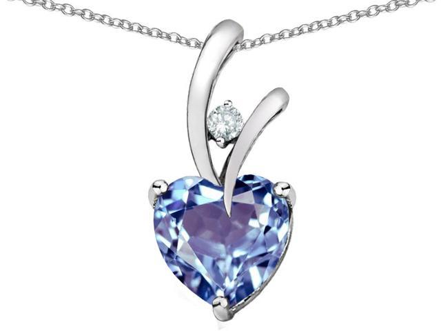 Star K 1.95 Cttw Heart Shaped Simulated Aquamarine Sterling Silver Pendant Necklace 18