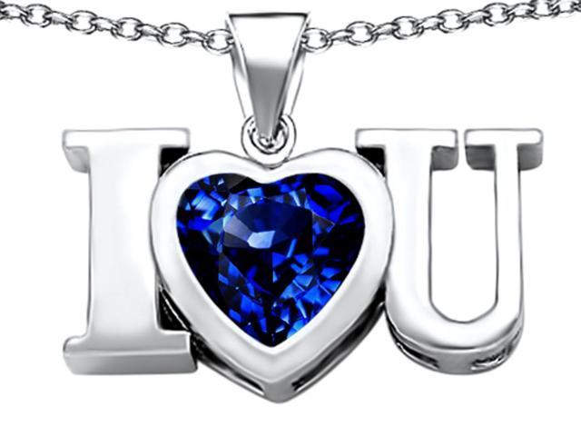 Star K 8mm Heart Shape Created Sapphire I Love You Heart Pendant Necklace in Sterling Silver