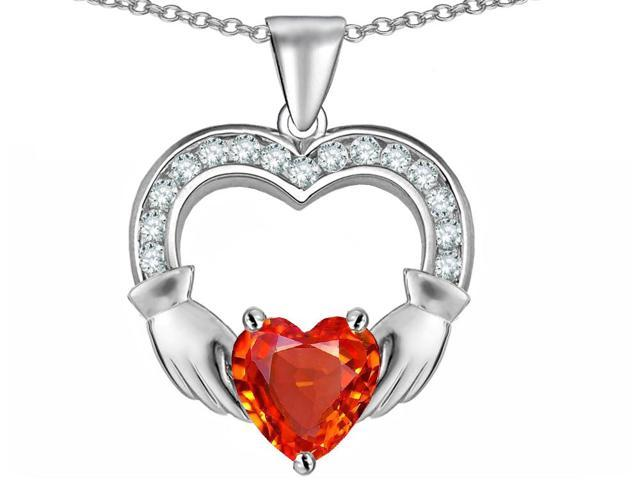 Star K Hands Holding 8mm Heart 1inch Claddagh Pendant Necklace with Simulated Mexican Fire Opal in Sterling Silver