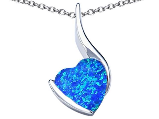 Star K Large 10mm Heart Shape Blue Created Opal Heart Pendant Necklace in Sterling Silver