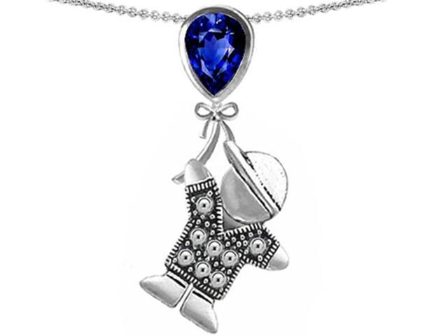 Star K Boy Holding a Balloon Mother September Birth Month Pear Shape Created Sapphire Pendant Necklace Sterling Silver