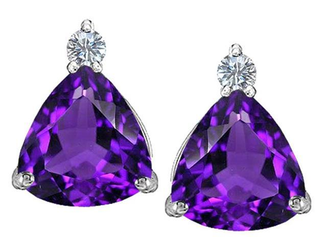 Star K 7mm Trillion Cut Simulated Amethyst Earrings Studs in Sterling Silver