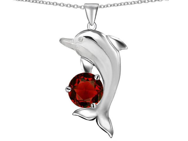 Star K Round 7mm Simulated Garnet Good Luck Dolphin Pendant Necklace in Sterling Silver