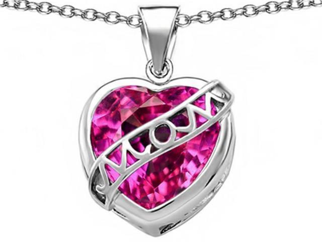 Star K Large Love Mom Mother Pendant Necklace with 15mm Heart Shape Created Pink Sapphire in Sterling Silver