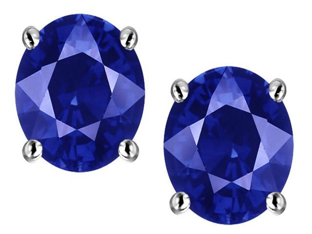 Star K Oval 8x6mm Created Sapphire Earrings Studs in Sterling Silver