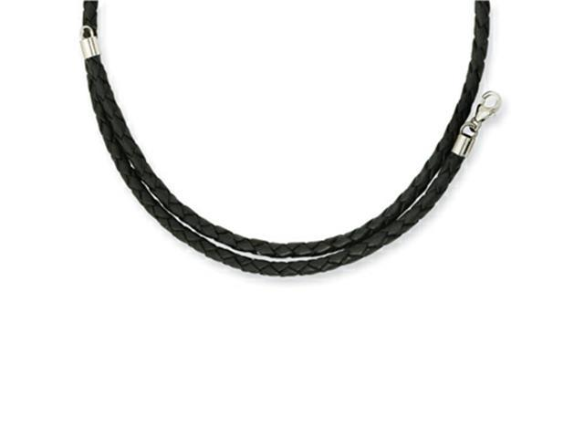 Chisel 3.0mm Genuine Leather Weave Necklace 20 inches in Stainless Steel