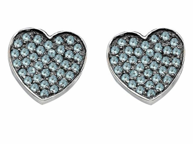 Star K Heart Shape Love Earrings with Simulated Aquamarine in Sterling Silver