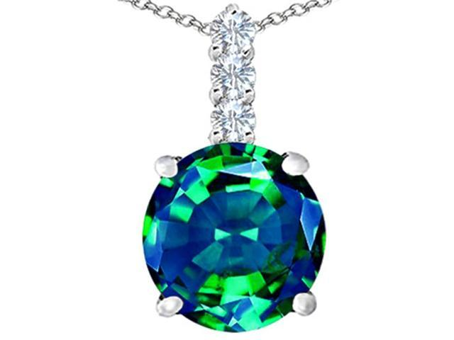 Star K Large 12mm Round Simulated Emerald Pendant Necklace in Sterling Silver