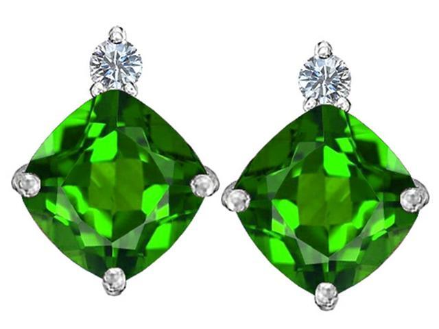 Star K 7mm Cushion Cut Simulated Emerald Earrings Studs in Sterling Silver