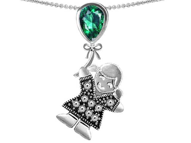 Star K Girl Holding a Balloon Mother May Birth Month Pear Shape Simulated Emerald Pendant Necklace in Sterling Silver