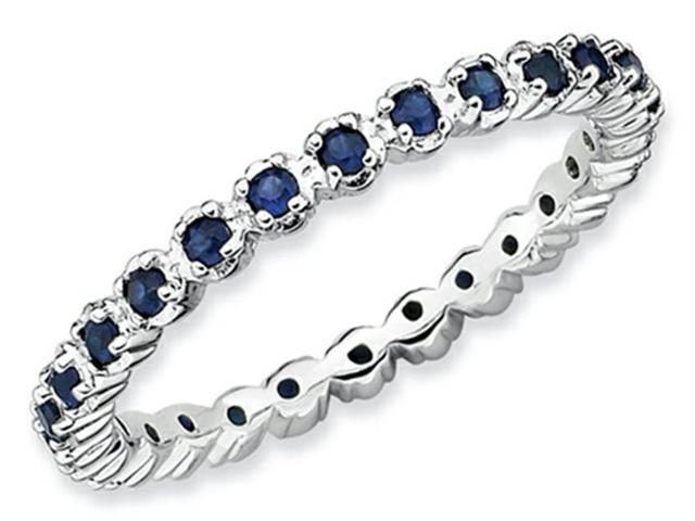 Stackable Expressions Sterling Silver Created Sapphire Stackable Ring Size 7