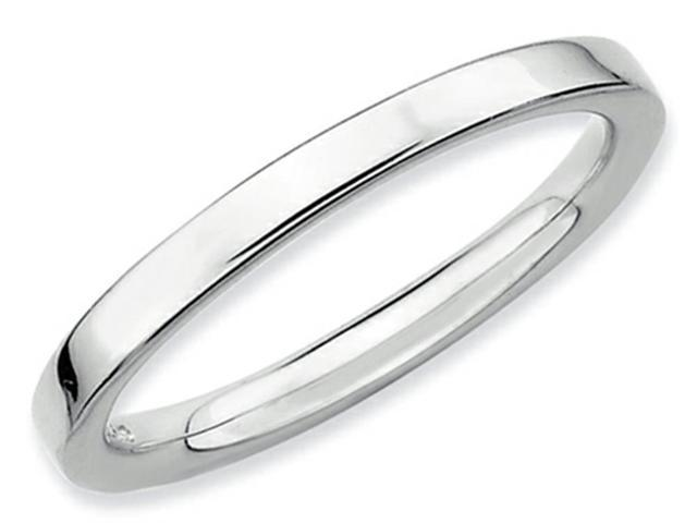 Stackable Expressions Sterling Silver Rhodium Polished Stackable Ring Size 6