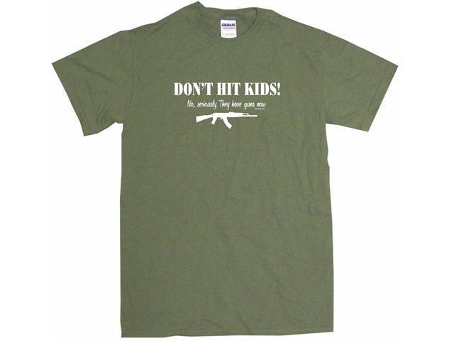 Don't Hit Kids - They Have Guns Now AK47 Machine Gun Men's Short Sleeve Shirt