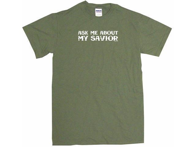 Ask Me About My Savior Men's Short Sleeve Shirt