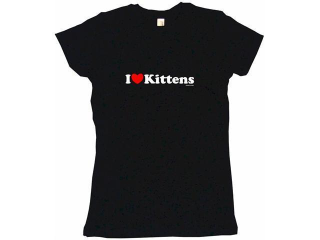 I Heart (Love) Kittens Women's Babydoll Petite Fit Tee Shirt