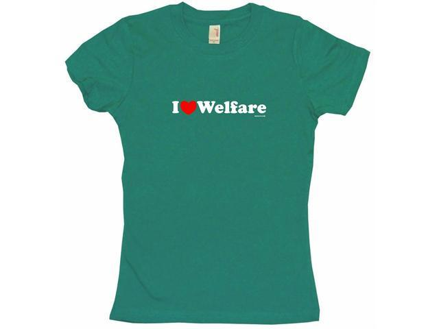 I Heart (Love) Welfare Women's Babydoll Petite Fit Tee Shirt
